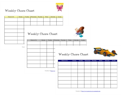 Free Chore Charts for Toddlers